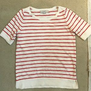 LOFT Red and White Striped Top - Size Small